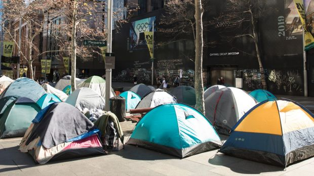 Homeless camp in Martin Place