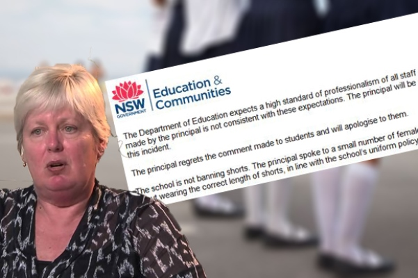 Article image for School principal apologises for inappropriate comment to young girls