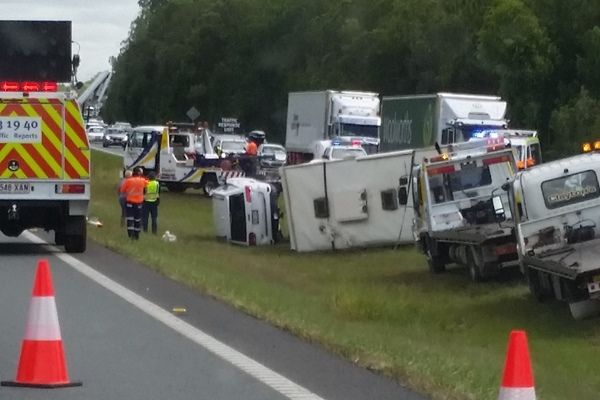 Car and motorhome accident on the Bruce Highway
