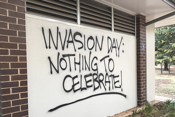Article image for Patriotic couple paint over disgusting Australia Day graffiti