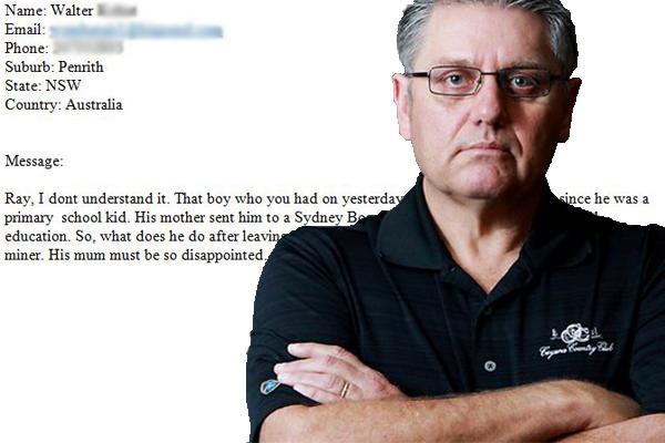 Ray slams unbelievable 'job snob' emailer