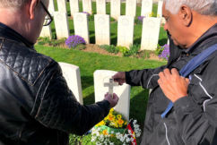 Grandson of fallen indigenous solider breaks down sharing his story