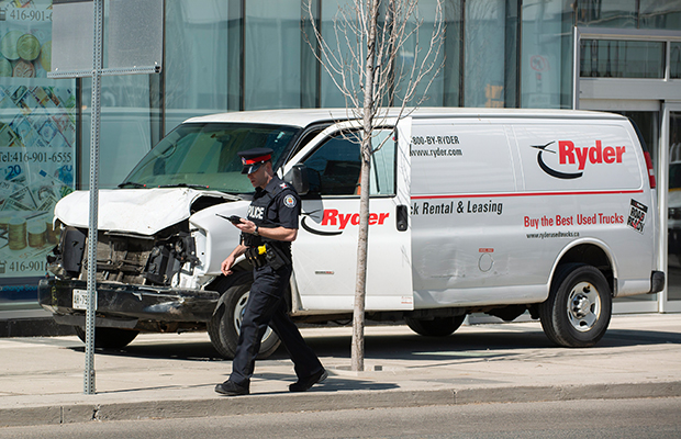 Article image for Toronto witness phones Ray Hadley: 'It drove up on the curb and just started bulldozing people'