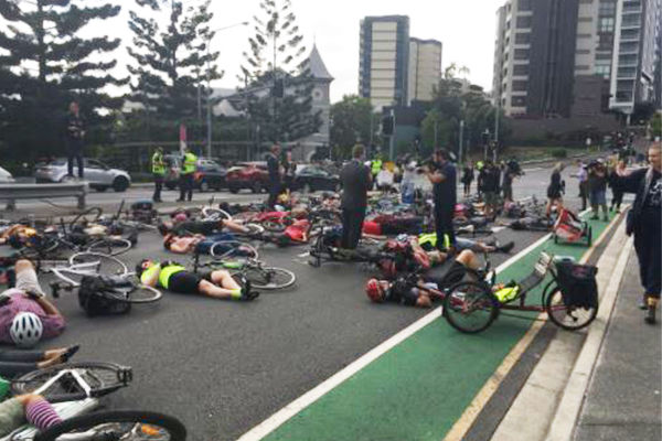 Article image for Mass cycling protest causes traffic chaos in Brisbane
