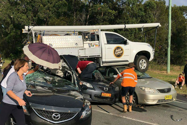 Airborne ute crushes cars at Caboolture
