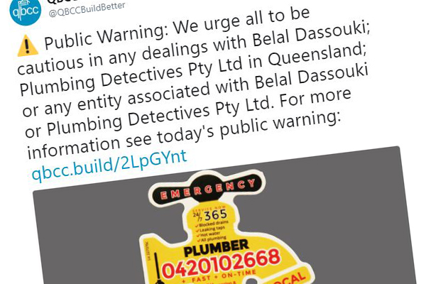 Shonky plumbers run out of town by the Queensland government
