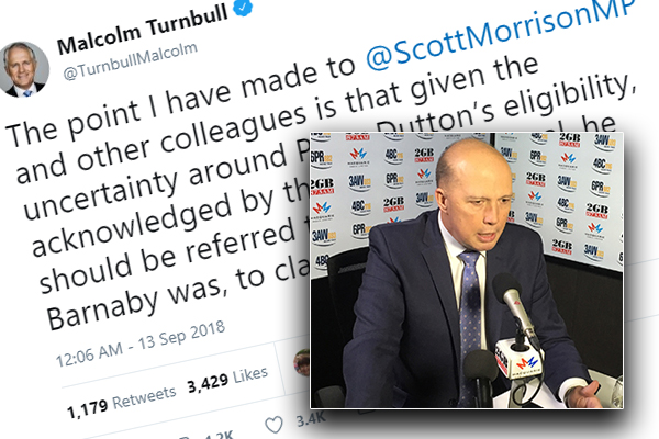 Article image for 'The first it was ever mentioned… was during the leadership week': Dutton responds to Turnbull's tweet