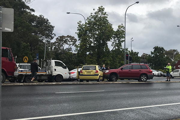 Two-car crash stops traffic