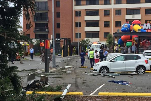Out of control truck smashes through Wollongong McDonald's