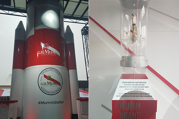 What on earth? A rocket has invaded this Melbourne Cup marquee…