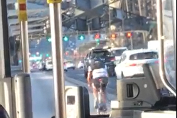 Article image for WATCH | Idiotic cyclist holds up traffic on Sydney Harbour Bridge