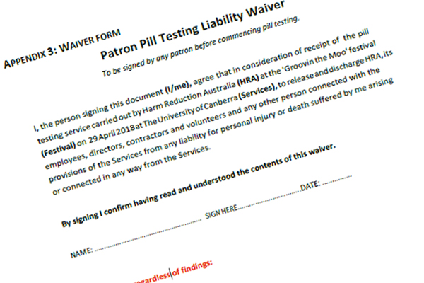 Festival goers made to sign ridiculous pill testing waiver form