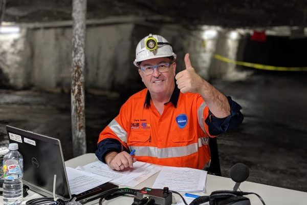 Chris Smith broadcasts from inside a working coal mine