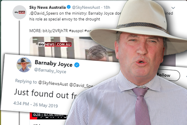 Article image for Barnaby Joyce disappointed in Scott Morrison's 'slip up'