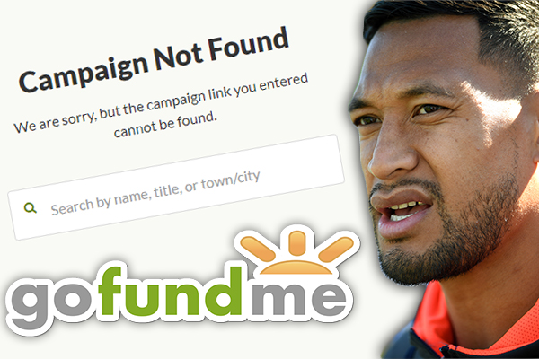 Israel Folau's fundraising page has been shut down