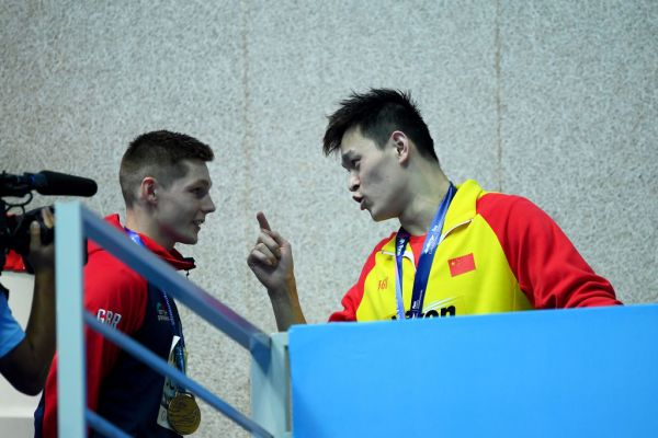 Article image for 'You loser!': Sun Yang explodes at British swimmer after another protest