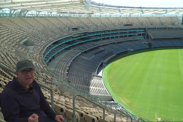 WATCH | John Stanley tours Optus Stadium before finding Australia's biggest pub