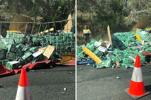 'The beer is not ok': Dozens of cases spill all over the Pacific Hwy