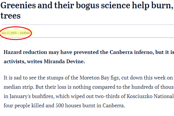 Article image for Miranda Devine bushfire article from 2003 still rings true
