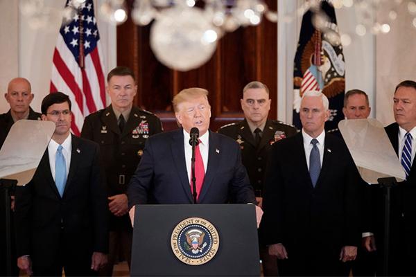 President Trump de-escalates military conflict with Iran