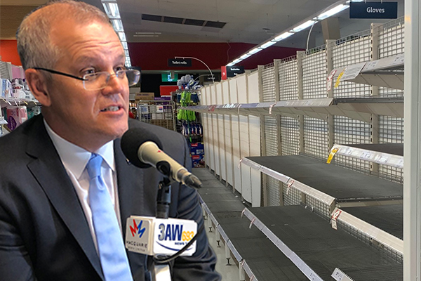 Article image for PM urges Australians to 'get on with our lives' as supermarkets forced to limit sales