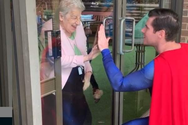 Article image for 'Superman' visits nursing home to bring joy to lonely residents