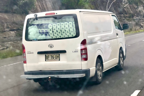 Article image for Van caught with hundreds of toilet paper rolls