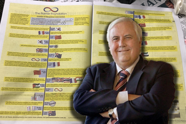 Clive Palmer advertises 'irrational' coronavirus treatment
