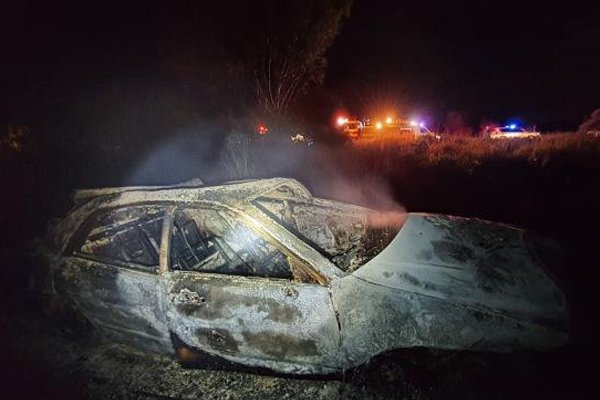 Driver thrown from vehicle in fiery car crash