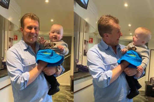 CUTE PICS: Nine newsreader Peter Overton meets his youngest fan!