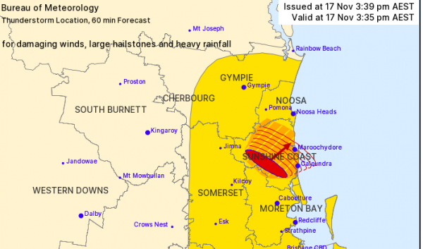 Severe thunderstorm warning issued for parts of south-east Queensland