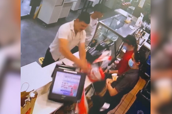 Article image for WATCH | Fast food workers terrorised by customer's destructive tirade
