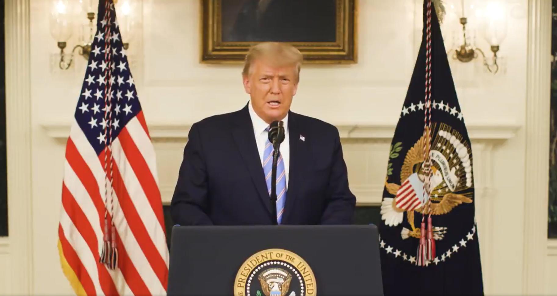 Trump officially concedes, calls for calm