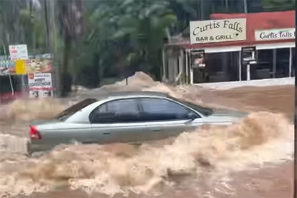 Article image for 'A state of panic': Tambourine Mountain drivers push through floodwaters
