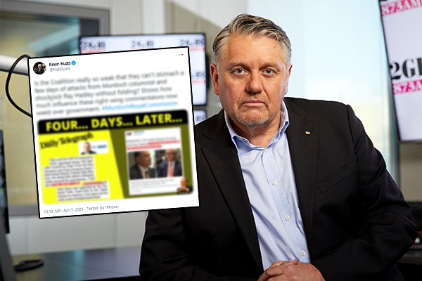 Article image for Ray Hadley responds to Kevin Rudd's 'disgraceful' social media antics