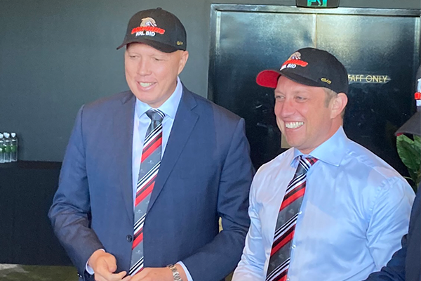 Article image for Peter Dutton forges unlikely friendship for NRL bid