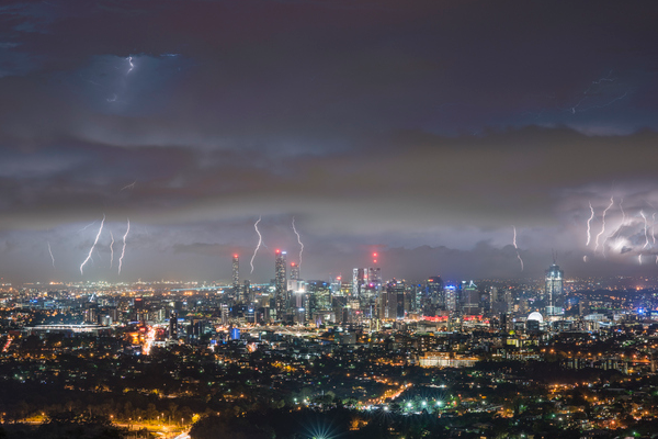 Article image for Power outages across Brisbane after city shocked by lightning