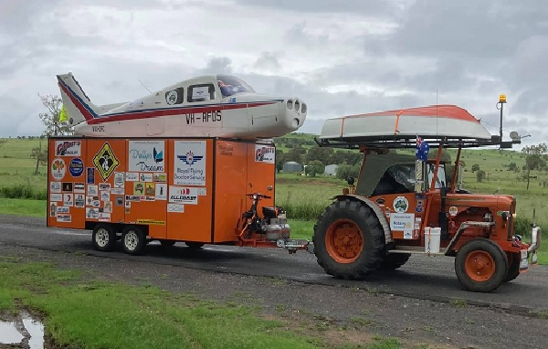 Why a man is driving a tractor and towing a plane around Australia