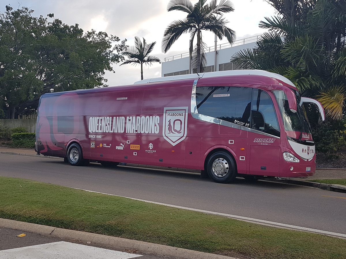 Article image for SPOTTED   'Mighty' Queensland Maroons bus ready for ferry to training