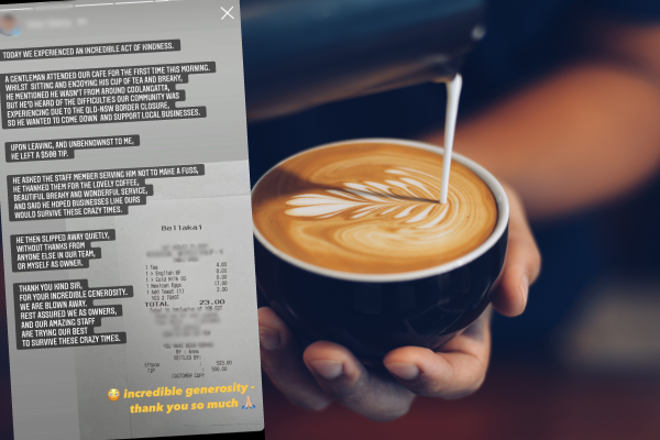 Article image for 'Speechless!': Mystery man's random act of kindness at Coolangatta cafe