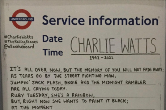 Article image for London Underground tribute to Charlie Watts