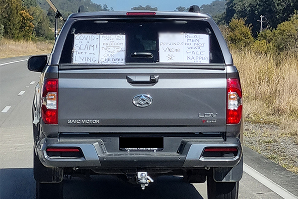 Article image for COVID denier snapped on NSW road