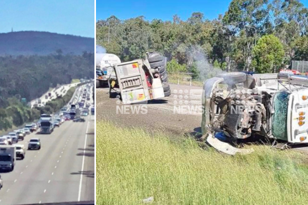 Article image for Two-truck rollover causing massive delays on the M1