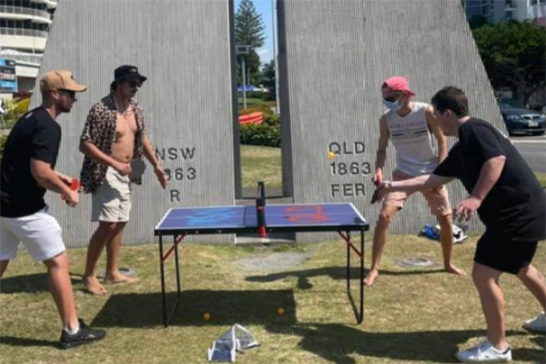 Article image for Border antics: Group sets up 'hilarious' ping pong tournament