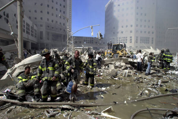 Rubble and smoking buildings of World Trade Centre in New York City, 11/09/01, after terrorist attacked twin towers by crashing highjacked commercial aircraft into buildings. Picture: Nathan Edwards