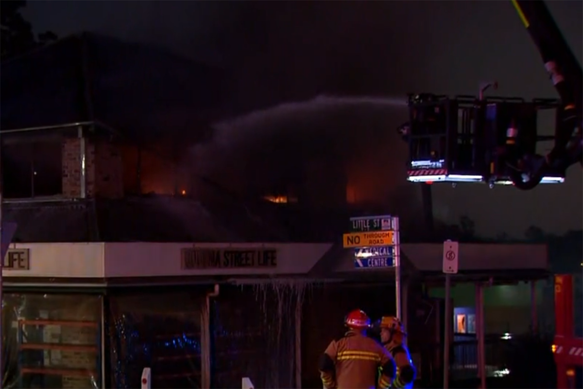 Article image for Goodna op-shop engulfed by flames, shuts down road